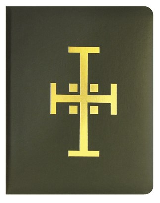 Green Binder Traditional Cross with Page Lifters for Loose-leaf Lectionary