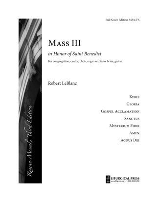 Mass in Honor of Saint Benedict, Full Score Edition