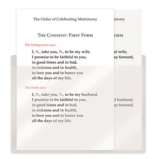 The Order of Celebrating Matrimony Couple's Consent Cards - English, with Pocket